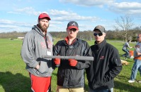 Concrete bat competition: Jason Wilson (staff engineer), Jared Claiborne, and Trey Baston.