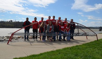 Steel bridge team: (back row) Fahad Alhumaid, Franklyn Perez, Nathan Hughes, James Thomason, Drake Riley, Daniel Hammers, Colton Dorris, and Cory Smith; (front row) Jessica Collins, Sarah Hay, Dr. Shane Palmquist (faculty advisor), Lacey Martin, and Caitlin Brown.