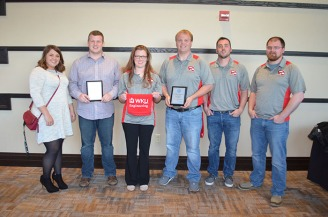 Steel bridge builder team: (left to right) Sarah Hay, James Thomason, Caitlin Brown, Daniel Hammer, Colton Dorris, and Nathan Hughes.