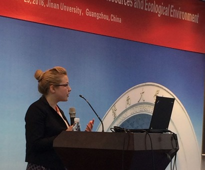 WKU Chinese Flagship Program senior Megan Laffoon lectured on her Honors thesis work to an international group of research hydrologists at a conference in Guangzhou, China.