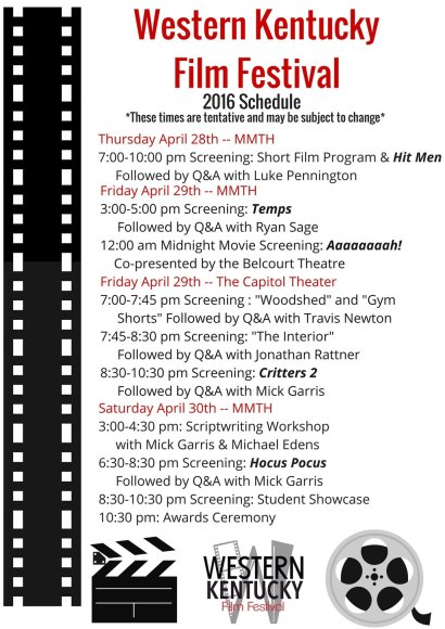 The 2016 Western Kentucky Film Festival will be held April 28-30. In addition to screenings at Mass Media and Technology Hall Auditorium, the event will include Friday night screenings at the Capitol Theatre in downtown Bowling Green.