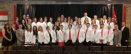 The inaugural class of WKU's Doctor of Physical Therapy program participated in their White Coat ceremony in May 2015. They will receive their degrees Friday night (May 13) during WKU's 179th Commencement. (WKU photo by Clinton Lewis)