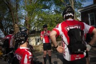 The Bike4Alz group prepared for a practice ride in April.