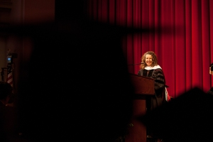 Dr. C. June Maker delivered the commencement address at the Gatton Academy graduation on May 14 . (WKU photo by Clinton Lewis)