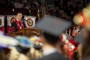 WKU President Gary Ransdell delivered remarks at the May 14 ceremonies. (WKU photo by Clinton Lewis)