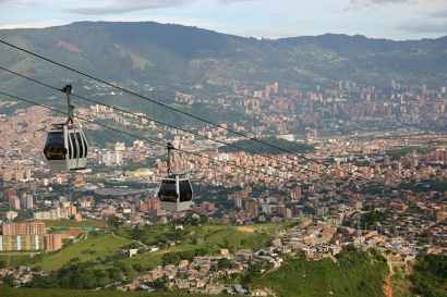 Cable car system built in Medellín, Colombia, to help improve accessibility in poor, hillside communities. (Photo by David Keeling)