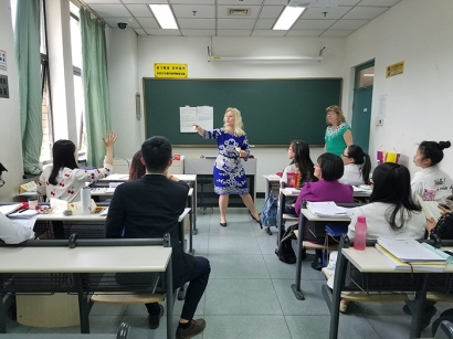 Dr. Rebecca Stobaugh and Dr. Kay Gandy provided training training to 12 teachers on the campus of Beijing Language and Culture University from April 30 to May 4.