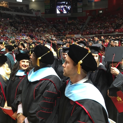 WKU recognized doctoral degree recipients at the graduate ceremony on May 13. (WKU photo by Diddle Arena)