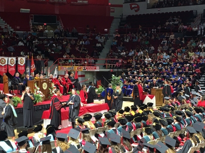 WKU's 179th Commencement began May 13 with the graduate ceremony at Diddle Arena. Three undergraduate ceremonies will be held May 14. (WKU photo by Clinton Lewis)
