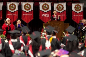 WKU President Gary Ransdell congratulated the Class of 2016. (WKU photo by Clinton Lewis)