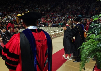 Ogden Foundation Scholar Jessica Canada is congratulated by Dr. Jeff Katz, dean of the Gordon Ford College of Business. Canada also was recognized as a Scholar of the College during WKU's 179th Commencement on May 14. (WKU photo by Bryan Lemon)