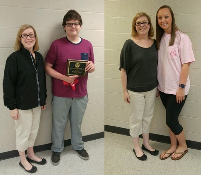 Benjamin Paul Watson (above left) and Hannah Garrett (above right) received undergraduate library research awards from Sara McCaslin, University Experience Coordinator.