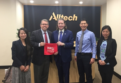A delegation from WKU recently visited Alltech China in Beijing. From left: Dr. Wu (WKU), Dr. Craig T. Cobane (WKU), Dr. Mark Lyons (Alltech China), Chanatip Padungdetpasuton (Alltech China) and Anna Lin (Alltech China).