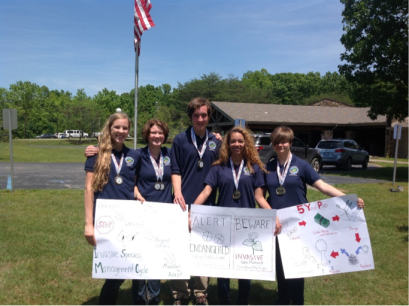 The Gatton Academy team (from left) of Laney Brager, Brigid Walters, Caleb Stickney, Malia Latimer and Emma Saarinen finished second in the Kentucky State Envirothon Competition.