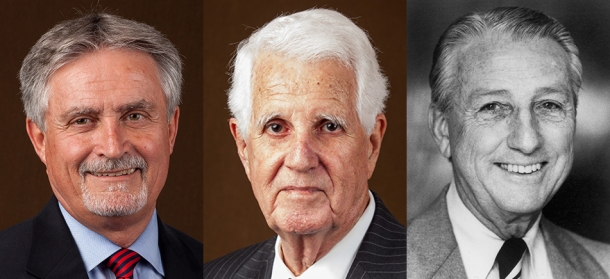 "Members of the 25th class of WKU's Hall of Distinguished Alumni will be inducted Oct. 21. The 2016 inductees are (from left) Bill ""Doc E"" Edwards, the Hon. Tom Emberton Sr. and Dr. Chester C. Travelstead."