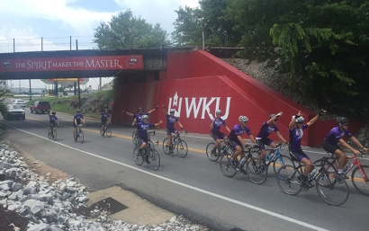 The Bike4Alz group rode into Bowling Green on July 6 as part of a cross country trip from Seattle to Virginia Beach. A community street fest is planned for July 7 in downtown Bowling Green.