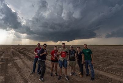 WKU Storm Chase participants near Dodge City, Kansas, on May 24, 2016. (Photo courtesy of Josh Durkee)
