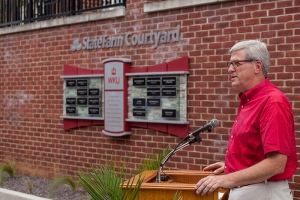 Ralph Dillihay, State Farm Agency Field Executive in Bowling Green, delivered remarks at the courtyard dedication. (WKU photo by Clinton Lewis)