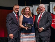 Dr. Audrey Anton (center) received the University Award for Teaching. Participating in the presentation were President Gary Ransdell and Regents Chair Freddie Higdon. (WKU photo by Bryan Lemon)