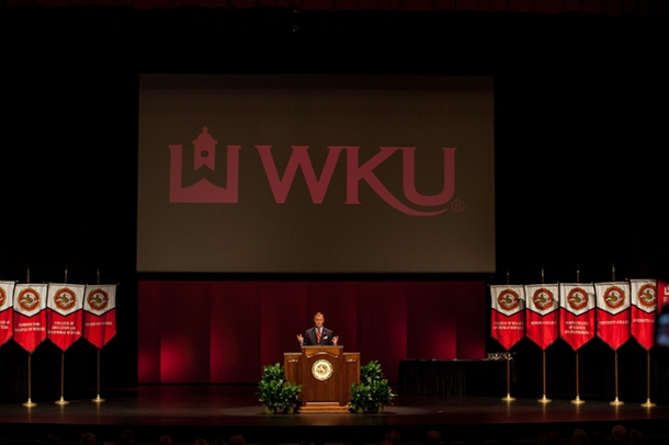 Dr. Gary A. Ransdell delivered his final convocation address as WKU's president on Aug. 19 at Van Meter Hall. (WKU photo by Clinton Lewis)