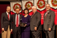Dr. Patricia Minter (center) received the University Award for Public Service. Participating in the presentation (from left) were: Provost David Lee, President Gary Ransdell, Regents Chair Freddie Higdon and Marc Archambault, Vice President for Development and Alumni Relations. (WKU photo by Clinton Lewis)