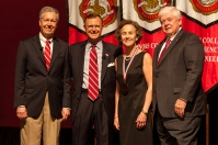 Dr. Betsy Shoenfelt (third from left) was recognized as University Distinguished Professor. Participating in the presentation (from left) were Provost David Lee, President Gary Ransdell and Regents Chair Freddie Higdon. (WKU photo by Clinton Lewis)