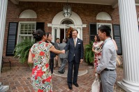 Confucius Institute teachers gathered at the President's Home on Aug. 23.