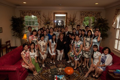 A Welcome Reception for Confucius Institute teachers was held Aug. 23 at the President's Home. (WKU photo by Clinton Lewis)