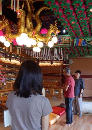 Dr. Jeff Samuels, (center) a professor in WKU's Department of Philosophy & Religion, visited a Buddhist temple outside of Seoul as part of the Zuheir Sofia Endowed International Faculty Seminar (ZSEIFS) to South Korea earlier this summer.