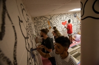 Students participated in The Great Wall of Service mural project with artist Andee Rudloff at the Center for Citizenship and Social Justice.