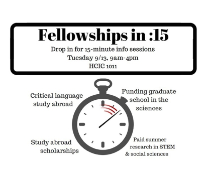 Office of Scholar Development will host Fellowships in 15 on Sept. 13.