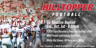 WKU will host Houston Baptist at 6 p.m. Oct. 1.
