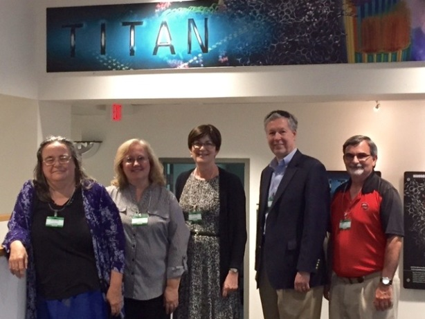 A group from WKU recently visited Oak Ridge National Laboratory. From left: Dr. Cate Webb, Dr. Cheryl Davis, Dr. Cheryl Stevens, Dr. David Lee and Dr. Michael Carini.