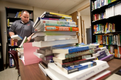 WKU's Textbooks For Troops program contains about $300,000 worth of books and has assisted more than 1,400 students since 2011. (WKU photo by Clinton Lewis)