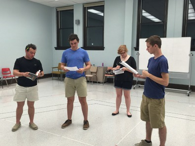 "WKU students (from left) Alexander Reeves, Ethan Corder, Ellie Archer and Travis Ryan rehearse for the production of ""Much Ado about Nothing."""