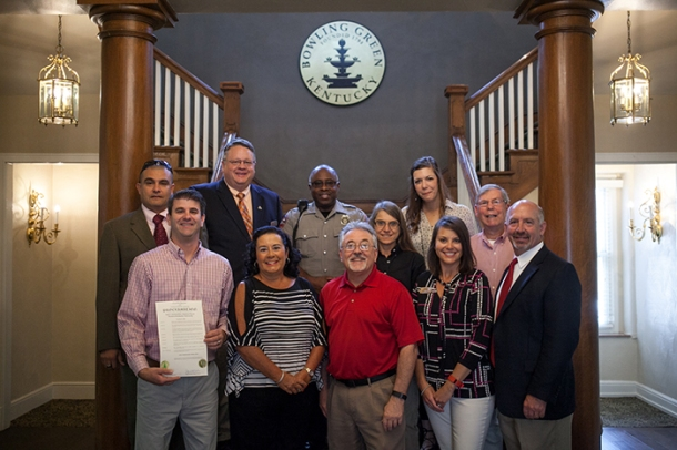 Local and WKU officials gathered for a proclamation signing for Safe Communities America Day on Oct. 5. (WKU photo by Bryan Lemon)