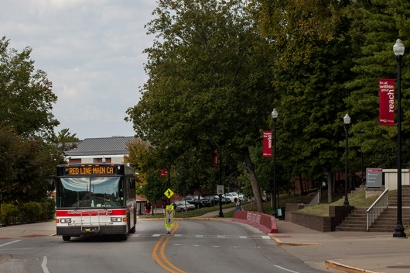 Beginning Oct. 10, Topper Transit Red Line is expanding its route to provide park and ride service from the main campus to the downtown parking garage. Commuters and other members of the WKU community will be able to park free in the downtown garage. (WKU photo by Clinton Lewis)
