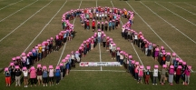 WKU groups sponsored a human ribbon for breast cancer awareness on Oct. 12.