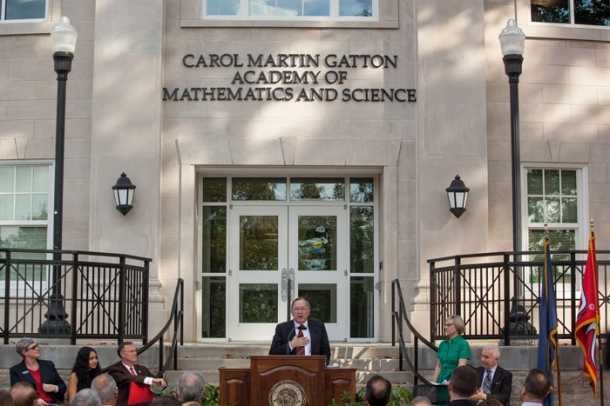 "Carol Martin ""Bill"" Gatton delivered remarks at a celebration of The Gatton Academy's expansion. (WKU photo by Clinton Lewis)"