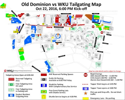 tailgating map for homecoming 2016