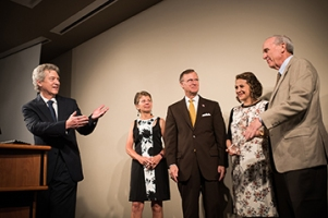 Participating in the Fleischaker/Greene award presentation on Oct. 4 were (from left) School of Journalism & Broadcasting Director Dr. Loup Langton, Kim Greene, Dr. Gary A. Ransdell, Jineth Bedoya and Jon Fleischaker. (Photo by Gabriel Scarlett, School of Journalism & Broadcasting)