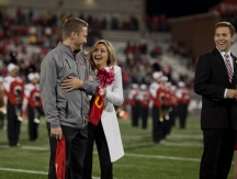 Mallory Vaughn reacts after being named 2016 Homecoming queen on Oct. 22. She was escorted by Jack Roller. (WKU photo by Bryan Lemon)