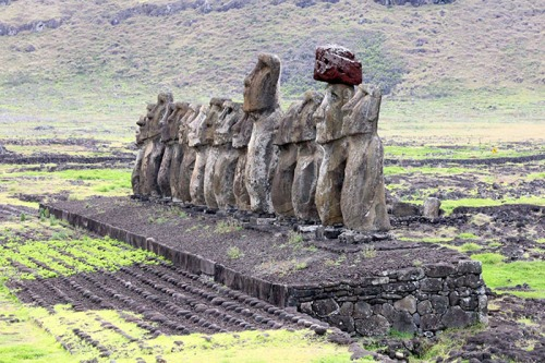 The famous Moai statues of Easter Island in the eastern Pacific Ocean.