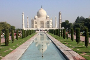 The iconic Taj Mahal in Agra, India, representing the height of Mughal culture.