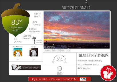 The White Squirrel Weather website, a real-time weather and climate monitoring system focused specifically on WKU, is located at http://wkuweather.com