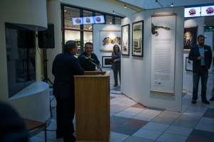"""A gallery reception for National Geographic photographer Joel Sartore's """"Amphibians: Vibrant and Vanishing"""" exhibit was held Nov. 7 before his Cultural Enhancement Series presentation."""