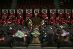 President Gary A. Ransdell delivered remarks at WKU's 180th Commencement. (WKU photo by Bryan Lemon)