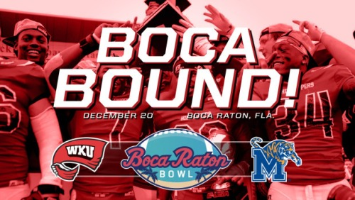 WKU vs. Memphis in the Boca Raton Bowl on Dec. 20.