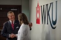 WKU President Gary A. Ransdell greeted 2017 Cherry Presidential Scholarship Finalists on Feb. 10.