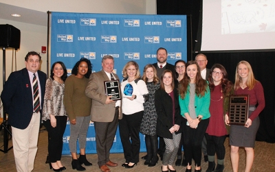 WKU faculty, staff and students attending the United Way awards included (from left) Dr. Charley Pride, Katie Frazier, Imari Hazelwood, Dr. Kenneth Crawford, Mindy Johnson, Allie Sharp, Brad Wheeler, Lexi Ratterman, Ashlee Manley, Katie Beth McIntosh, Brian Kuster, Veronica Lopez and Shelby Wade.